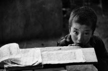 Chamba, 8 years old, Thiksey Gompa. Ladakh, India, 1990.<br>Thiksey Gompa (monastery) gives hospitality to a community of 108 monks, admitted from the age of 4 years.