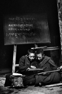 The school, Thiksey Gompa. Ladakh, India, 1990.<br>Thiksey Gompa (monastery) gives hospitality to a community of 108 monks, admitted from the age of 4 years.